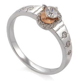 Кольцо с 25 бриллиантами 0,58 ct  (центр 1 бриллиант 0,33 ct  4/6, боковые 24 бриллианта 0,25 ct  4/5) из белого золота 750°, артикул R-СА460