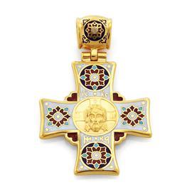 Крестик нательный православный  Нерукотворный образ Иисуса Христа, святой Николай Чудотворец, артикул R-KRSPE0600