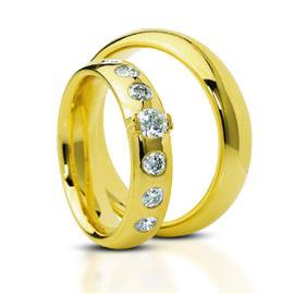 Обручальные кольца парные с бриллиантами из золота 585 пробы, артикул R-ТС 23060