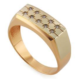 Кольцо из белого золота 585 пробы с 10 бриллиантами весом 0,09 карат, артикул R-11000348