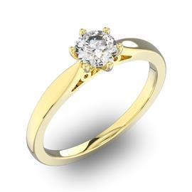 Помолвочное кольцо 1 бриллиантом 0,55 ct 4/5 из желтого золота 585°, артикул R-D32270-1