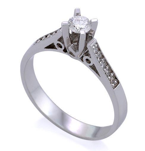 Кольцо из белого золота 750 пробы с 1 бриллиантом 0,22 карата и 10  бриллиантами ... 7fe50687d6d
