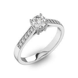Помолвочное кольцо 1 бриллиантом 0,5 ct 4/5 и 10 бриллиантами 0,15 ct 4/5 из белого золота 585°, артикул R-D40539-2