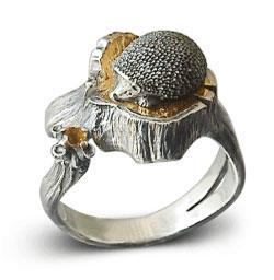 Кольцо Ёжик серебро, артикул R-131506