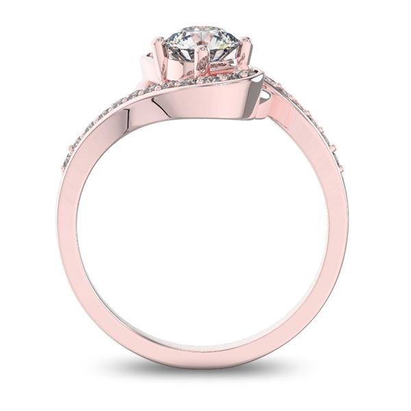 Помолвочное кольцо с 1 бриллиантом 0,45 ct 4/5  и 22 бриллиантами 0,13 ct 4/5 из розового золота 585°