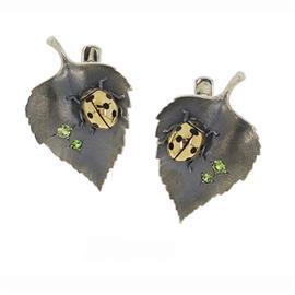 Серьги серебряные Берёзовый Лист серебро, артикул R-215006