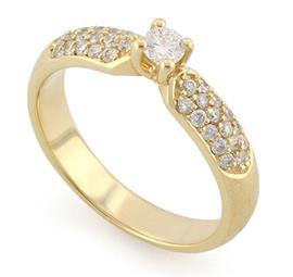 Помолвочное кольцо с 33 бриллиантами 0,47 ct (центр 0,15 ct 4/5, боковые 0,32 ct 4/5) желтое золото, артикул R-L1929-1 0.15