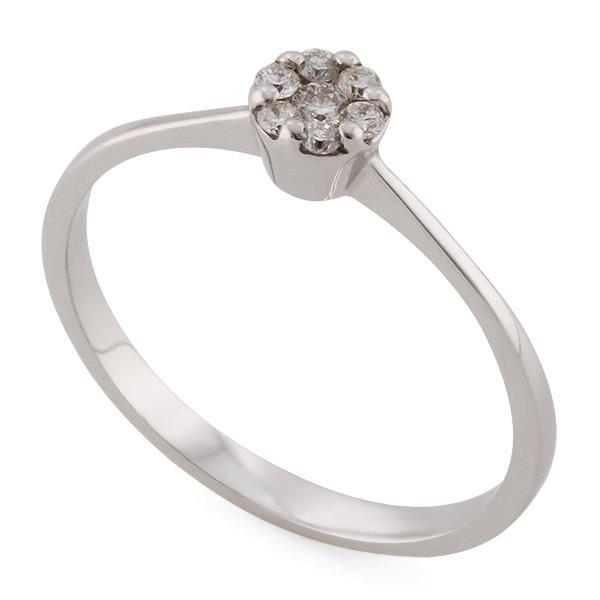 Купить Кольцо из белого золота 750 пробы с 7 бриллиантами 0,11 карат ... 90ecb15797c