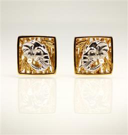 Запонки Слоны из серебра 925 пробы с гальваническим покрытием родием и золотом, артикул R-44.02