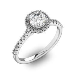 Помолвочное кольцо с 1 бриллиантом 0,7 ct 4/5  и 30 бриллиантами 0,18 ct 4/5 из белого золота 585°, артикул R-D42200-2
