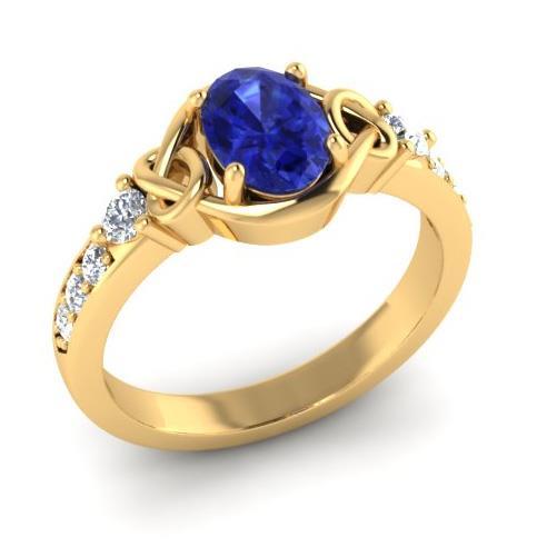 Кольцо с 1 сапфиром 1,00 ct  и 8 бриллиантами 0,19 ct 4/5 из желтого золота 585°, артикул R-R48140-1