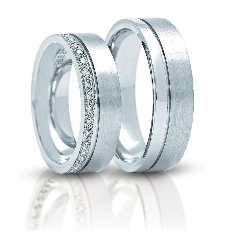 """Обручальные кольца парные из белого золота 585 пробы, серия """"Twin set"""", артикул R-ТС 3266-2"""
