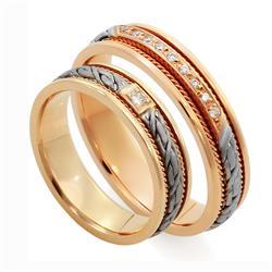 Обручальные кольца парные с бриллиантами из золота 585 пробы, артикул R-ТС L1912-3Б19