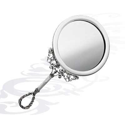 Серебряное Зеркало круглое с ажурной ручкой, артикул R-0110315А2