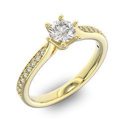 Помолвочное кольцо с 1 бриллиантом 0,3 ct 4/5  и 16 бриллиантами 0,12 ct 4/5 из желтого золота 585°, артикул R-D42592-1