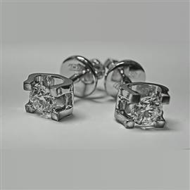 Серьги-пусеты в стиле Cartier с 2 бриллиантами 0,47 ct 3/5 белое золото 585° , артикул R-LP007-2
