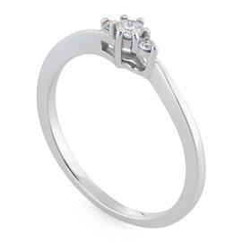 Помолвочное кольцо с 3 бриллиантами 0,1 ct 3/4 из белого золота, артикул R-38-2-DD-R-113551