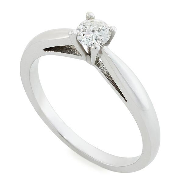 Помолвочное кольцо с 1 бриллиантом 0,23 ct 3/5 белое золото 585°