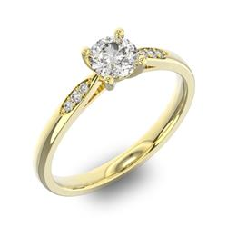 Помолвочное кольцо с 1 бриллиантом 0,45 ct 4/5  и 6 бриллиантами 0,03 ct 4/5 из желтого золота 585°, артикул R-D34170-1