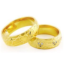 Обручальные кольца парные с бриллиантами из желтого золота, артикул R-ТС 3412