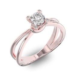 Помолвочное кольцо 1 бриллиантом 0,5 ct 4/5 и 8 бриллиантами 0,12 ct 4/5 из розового золота 585°, артикул R-D42859-3