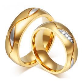Обручальные кольца парные с бриллиантами из желтого золота 585 пробы, артикул R-ТС AL2307