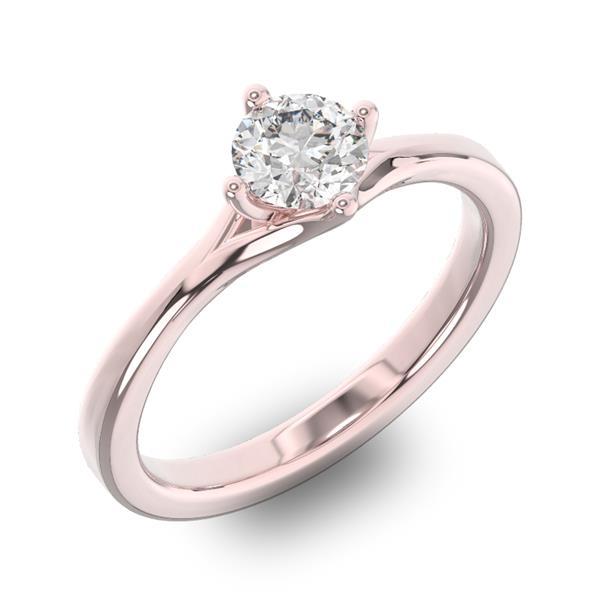 Помолвочное кольцо 1 бриллиантом 0,50 ct 4/5 из розового золота 585°