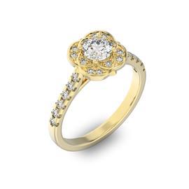 Помолвочное кольцо с 1 бриллиантом 0,45 ct 4/5  и 24 бриллиантами 0,29 ct 4/5 из желтого золота 585°, артикул R-D36044-1