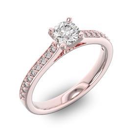 Помолвочное кольцо с 1 бриллиантом 0,35 ct 4/5  и 18 бриллиантами 0,14 ct 4/5 из розового золота 585°, артикул R-D42596-3