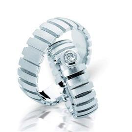 """Обручальные кольца парные с бриллиантом серии """"Twin set"""", артикул R-ТС 3224-0,1"""