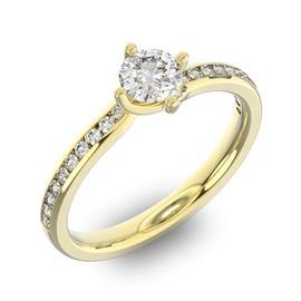 Помолвочное кольцо с 1 бриллиантом 0,45 ct 4/5  и 20 бриллиантами 0,12 ct 4/5 из желтого золота 585°, артикул R-D38309-1