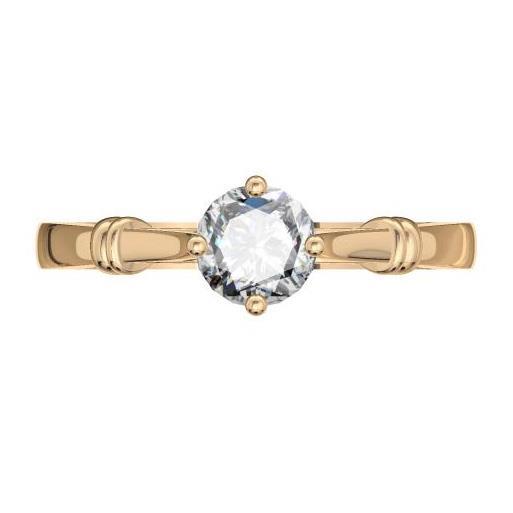 Кольцо с 1 бриллиантом 0,30 ct 4/5  из розового золота 585°