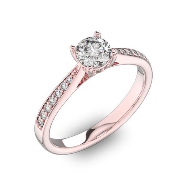 Помолвочное кольцо с 1 бриллиантом 0,45 ct 4/5  и  22 бриллиантами 0,11 ct 4/5 из розового золота 585°