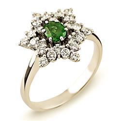 Кольцо из белого золота 750 пробы с  24 бриллиантами 0,59 карат и  изумрудом, артикул R-ERN01512-02