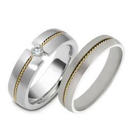 """Обручальные кольца парные из золота 585 пробы с бриллиантом серия  """"Twin set"""", артикул R-ТС 1563-2"""