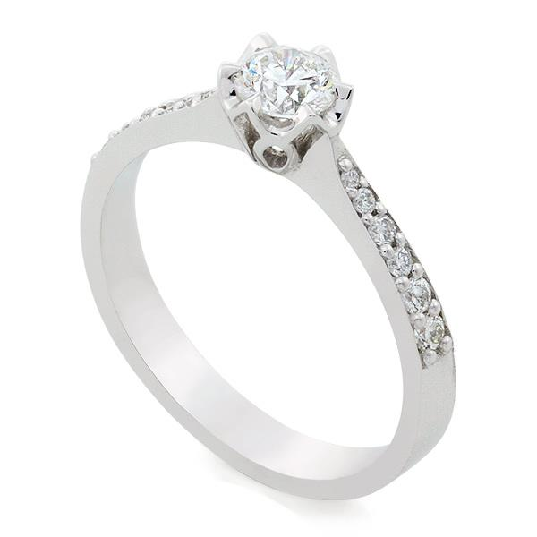 Помолвочное кольцо с 1 бриллиантом 0,40 ct 4/5 и 12 бриллиантами 0,16 ct 4/5 белое золото 750°, артикул R-TRN05451-03