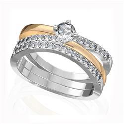 Кольцо с 1 бриллиантом 0,25 ct 4/5 и 30 бриллиантами 0,24 ct 4/5 из белого и желтого золота 585°, артикул R-D47408-2