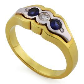 Кольцо из желтого и белого золота 750 пробы с 1 бриллиантом 0,13 карат, 2 бриллиантами 0,02 карат и 2 сапфирами 0,42 карат, артикул R-123-40
