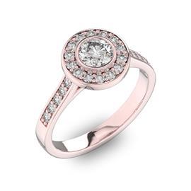 Помолвочное кольцо с 1 бриллиантом 0,45 ct 4/5  и 24 бриллиантами 0,3 ct 4/5 из розового золота 585°, артикул R-D40577-3