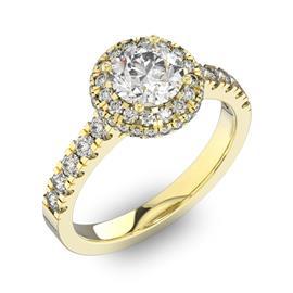 Помолвочное кольцо с 1 бриллиантом 0,67 ct 4/5  и 50 бриллиантами 0,4 ct 4/5 из желтого золота 585°, артикул R-D41972-1