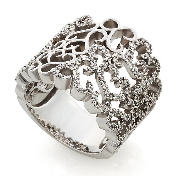 Кольцо с 166 бриллиантами 0,72 ct 4/5 из белого золота, артикул R-СК1408