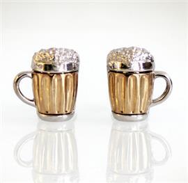 Запонки Пивные кружки из серебра 925 пробы с золотым покрытием с сапфирами, артикул R-41.01