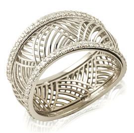 Кольцо с 116 бриллиантами 0,59 ct 3/3  из белого золота, артикул R-ИМ 112