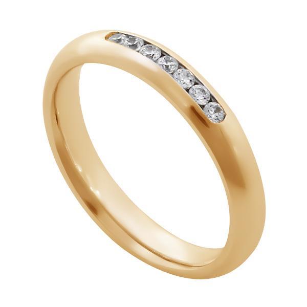 Обручальные кольца с 7 бриллиантами 0,18 ct 4/5 розовое золото 585°, артикул R-A14047-3
