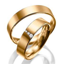 Обручальные кольца парные с бриллиантами из золота 585 пробы, артикул R-80605-3м