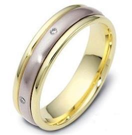 Обручальное кольцо с бриллинтами из белого и желтого золота 585 пробы, артикул R-1237/001