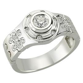 Кольцо с 1 бриллиантом 0,22 ct 3/4 и 18 бриллиантами 0,18 ct 4/4 из белого золота, артикул R-80930