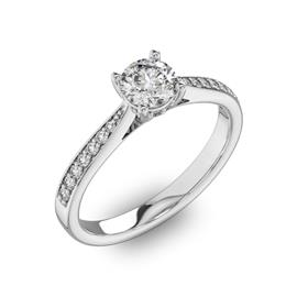 Помолвочное кольцо с 1 бриллиантом 0,45 ct 4/5  и  22 бриллиантами 0,11 ct 4/5 из белого золота 585°, артикул R-D40517-2