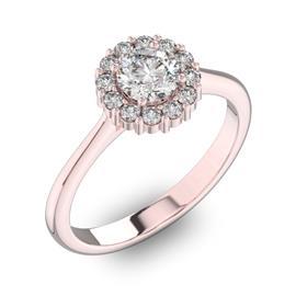 Помолвочное кольцо с 1 бриллиантом 0,5 ct 4/5  и 12 бриллиантами 0,24 ct 4/5 из розового золота 585°, артикул R-D42195-3