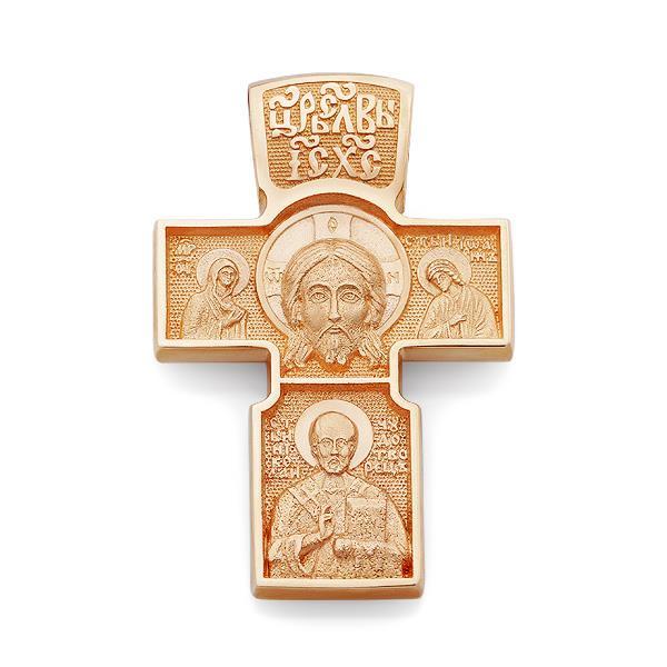 Крест православный нательный образ Иисуса Христа, Пресвятая Богородица, Иоанн Богослов, святой Николай Чудотворец, архангел Михаил, артикул R-KRZ0701-3